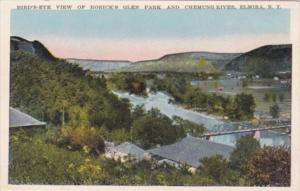 New York Elmira Birds Eye View Of Rorick's Glen Park and Chemung River