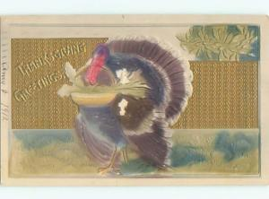Pre-Linen thanksgiving art nouveau EMBOSSED TURKEY HOLDS WICKER BASKET k8908