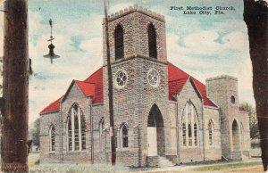 Lake City Florida First Methodist Church Exterior Vintage Postcard KK299