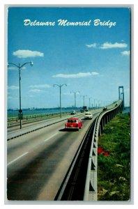 Vintage 1961 Postcard Antique Cars Driving on Delaware Memorial Bridge