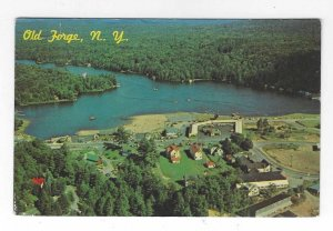 1960's Old Forge, New York Aerial View Chrome Postcard