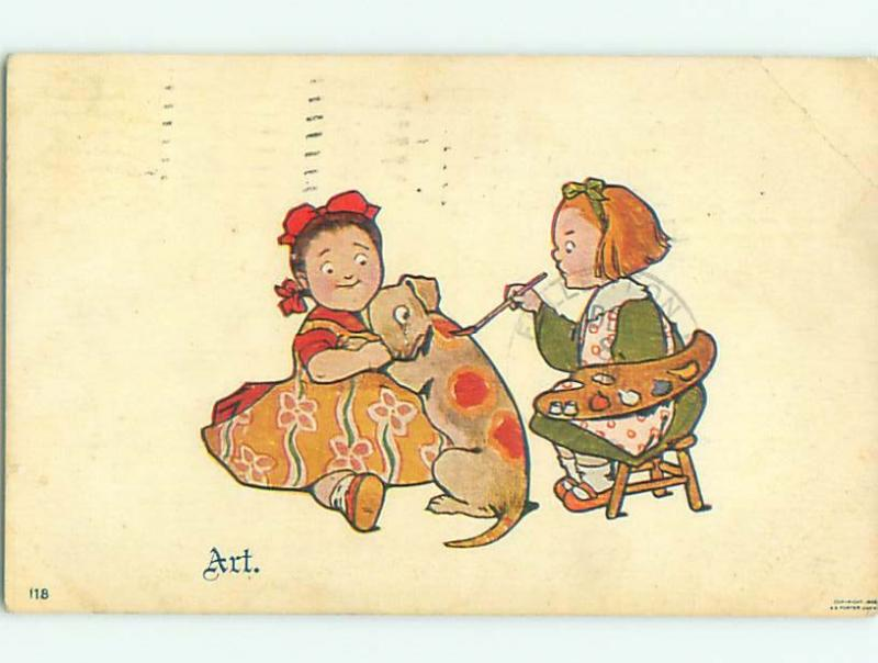 Pre-1907 PAIR OF GIRLS PAINTING RED SPOTS ON TO DOG W6995