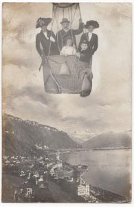 Aviation; Composite Group Photo, Family in Balloon Over Town RP PPC, 1911 PMK