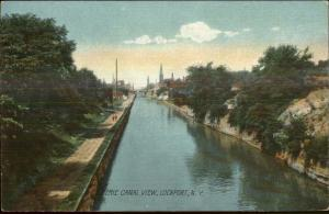 Lockport NY Erie Canal View c1910 Postcard