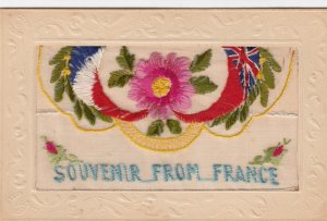Embroidered Souvenir from France , 1914-18 ; Flower & flags