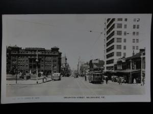 Australia: MELBOURNE Swanston Street showing Trams Old RP PC