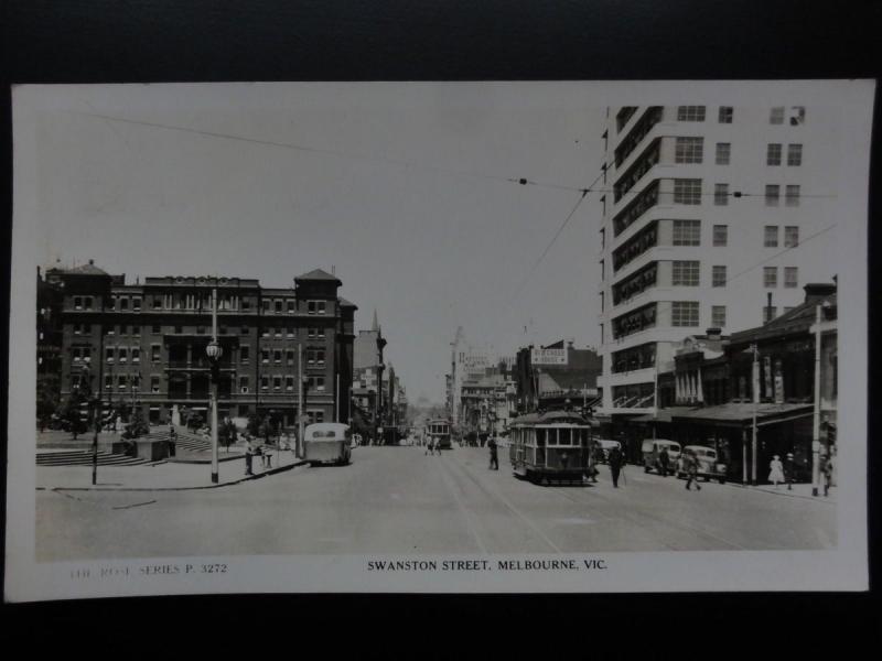 Australia: MELBOURNE Swanston Street showing Trams Old RP PC