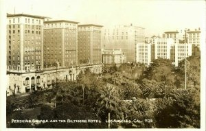Los Angeles, Ca., Pershing Square and Baltimore Hotel (1930s) RPPC Postcard