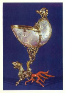Postcard art gold plated dog sculpture