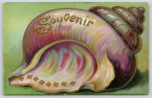 Critter Left This Seashell Behind~Souvenir~Gold Four Leaf Clovers~Embossed c1910