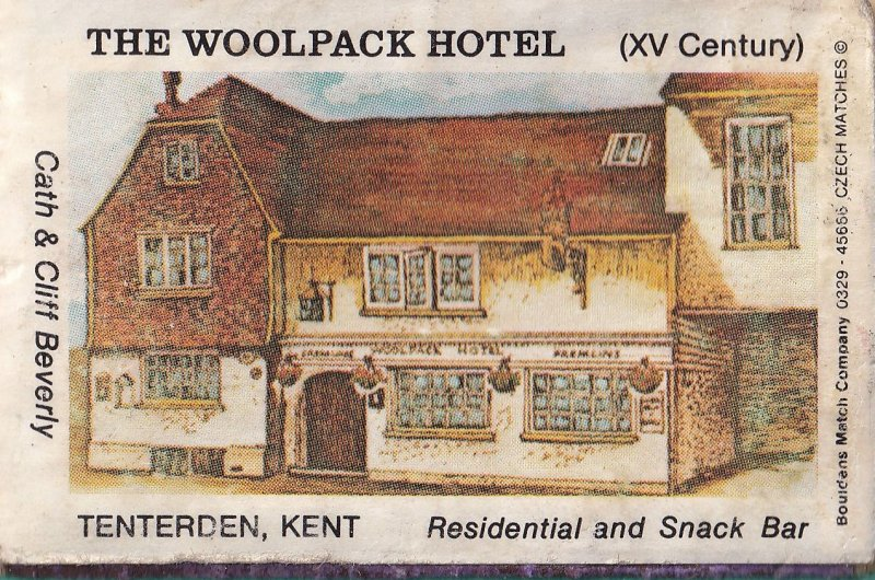 The Woolpack Hotel Tenterton Kent Old Matchbox Label