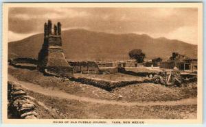 TAOS, New Mexico NM   OLD PUEBLO CHURCH RUINS  Albertype Sepia  Postcard