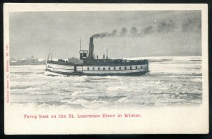 dc1339 - ST. LAWRENCE RIVER Quebec Postcard 1900s Ferry Boat