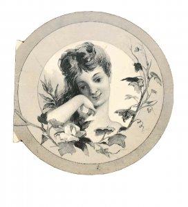 Vintage Woman Girl Merry Christmas Xmas Card Circle Art Noveau