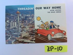 Threadin' our way home after visiting the space needle Vintage Postcard ZP-10