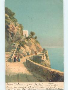 Pre-1907 ROAD ALONG SHORELINE Capri - Bay Of Naples Italy F5119