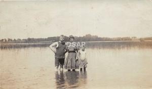 A67/ Chicago Illinois Il Real Photo RPPC Postcard 1908 Family Swimming Lake