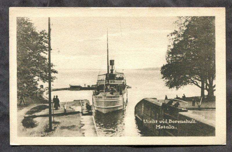 dc766 - MOTALA Sweden 1920s Steamer Entering Locks. Postcard