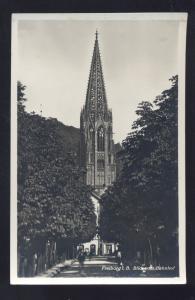 RPPC FREIBURG I.B. BLICK VOM BAHNHOF GERMANY VINTAGE REAL PHOTO POSTCARD