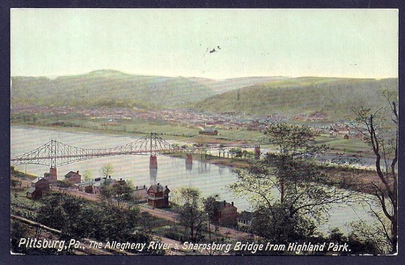 Sharpsburg Bridge Allegheny River Pittsburgh PA used c1912