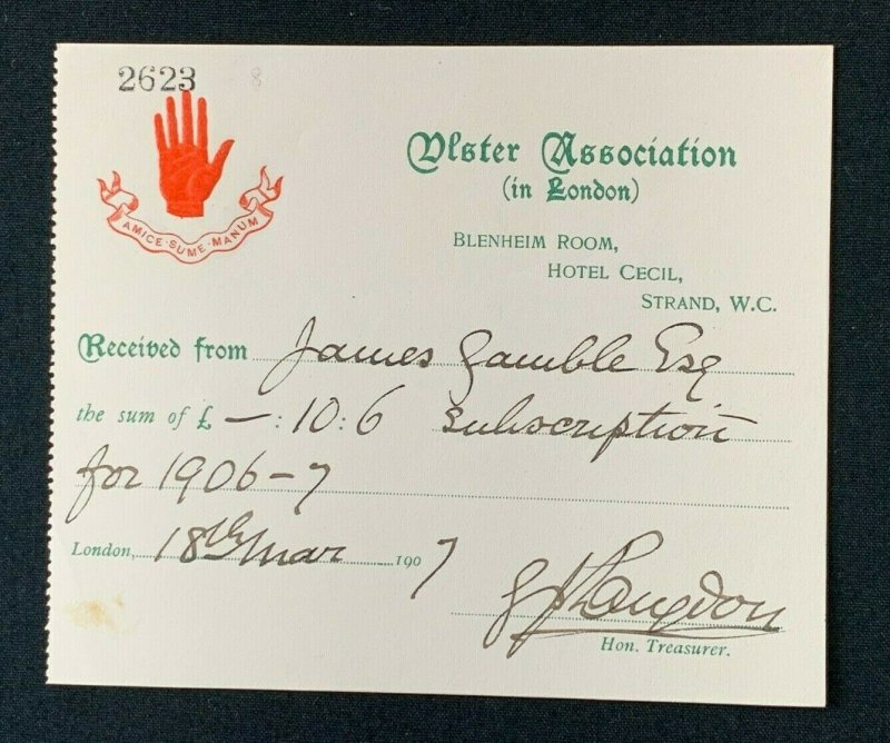 1907 Ulster Association in London Receipt, Hotel Cecil, James Gamble, Red Hand