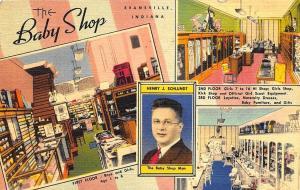 Evansville IN The Baby Shop Curt Teich Linen Advertising Postcard