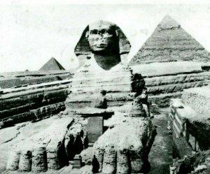 Vtg Carte Postale Cppr - Sphinx & Pyramides Avec Excavation Avec 3 Uar Timbres