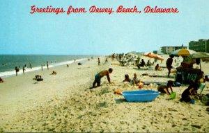 Delaware Dewey Beach Greetings Showing Beautiful Surf and Bathing Beach