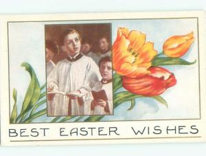 Divided-Back CHILDREN AT EASTER SCENE Great Postcard AA1707
