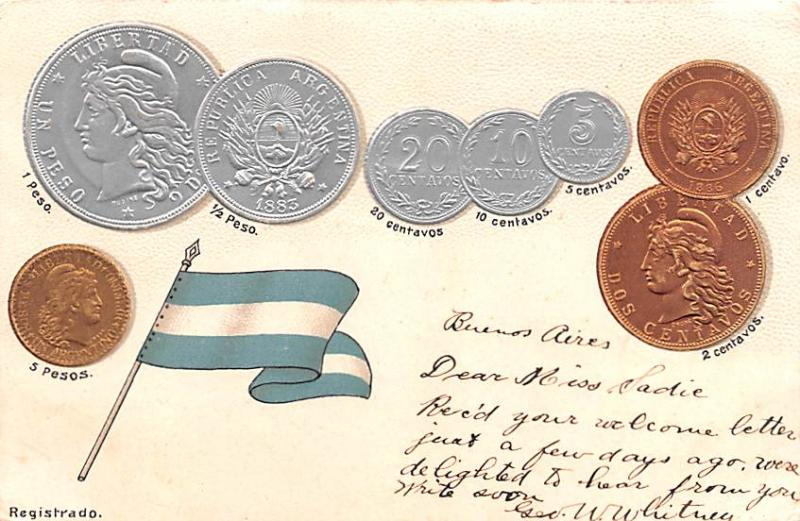 Coin Postcard, Old Vintage Antique Buenos Aires