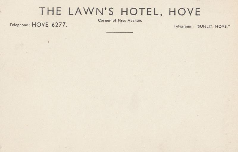 The Lawns Hotel Hove Sussex Advertising Guests Old Postcard