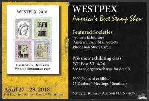 Westpex 2018 Stamp Show advertisement, mailed,