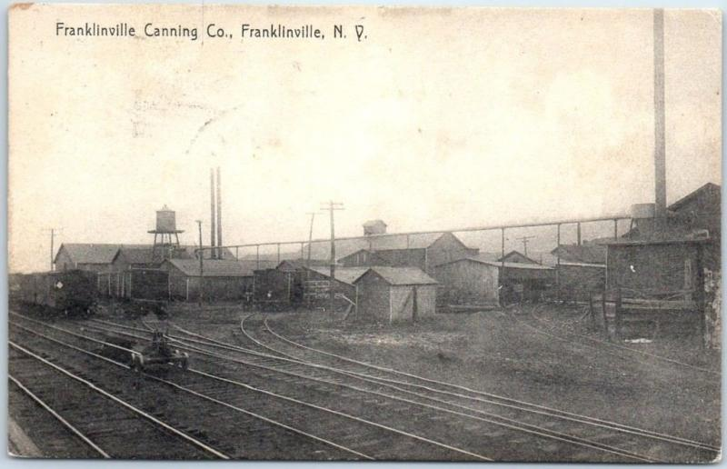 FRANKLINVILLE New York Postcard CANNING CO. Factory Railroad Tracks 1907 Cancel
