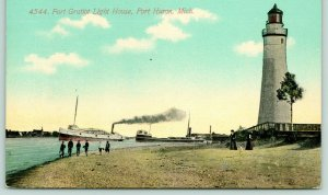 Port Huron MI~Youth @ Play on Beach~Ft Gratiot Lighthouse~Steamer~Freighter 1910