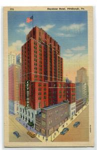 Keystone Hotel Pittsburgh Pennsylvania 1943 linen postcard