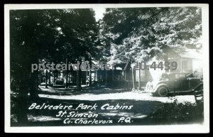 4439 - ST. SIMEON Quebec 1940s Belvedere Park Cabins. Real Photo Postcard