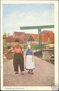 netherlands, VOLENDAM, Woman, Man, Bridge 1952 Costumes
