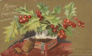 Merry Christmas mistletoe cigar box