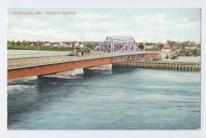 Portland ME Postcard Turkeys Bridge Langdorf ca 1910 vintage