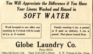 Globe Laundry Co. E. W. Truman & Son Props. Vintage Paper Advertisement