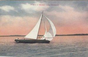 A Spin at Sunset, Lake Michigan, 1900-10s; Sailboat