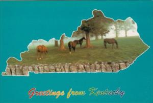 Greetings From Kentucky Map With Horses