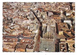 Italy Milano Cathedral Square Aerial View Royal Palace Milan Vtg 4X6 Postcard