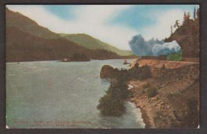 Train Passing The Columbia River & Cascade Mountains - North Bank Road - Unused
