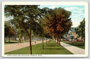 Mankato Minnesota~Broad Street & Boulevard~Boy on Bicycle~Rows of Trees~1926