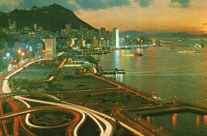 Vintage Postcard Beautiful Dusk Scene of Victoria Hong Kong China
