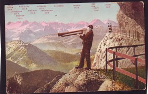 P1518 old unused postcard man with horn mountain view guard rails switzerland
