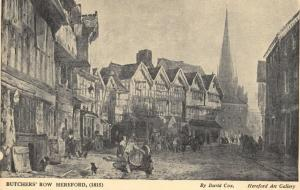 Art Postcard, Butchers Row, Hereford (1815) by David Cox 93U