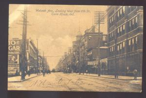 TERRE HAUTE INDIANA DOWNTOWN STREET SCENE ANTIQUE VINTAGE POSTCARD