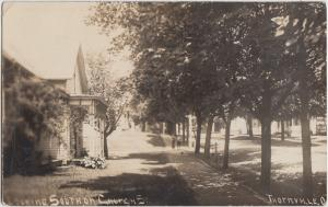 Ohio Real Photo RPPC Postcard 1909 THORNVILLE Church Street Homes Kids Perry Co